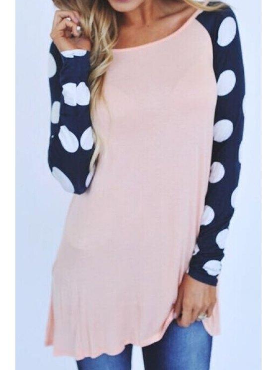 new Polka Dot Splicing Long Sleeve T-Shirt - LIGHT PINK XL