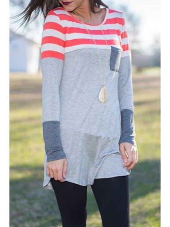fancy Stripe Spliced Long Sleeve T-Shirt - AS THE PICTURE S
