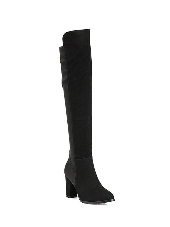 buy Chunky Heel Suede Over The Knee Boots - BLACK 35