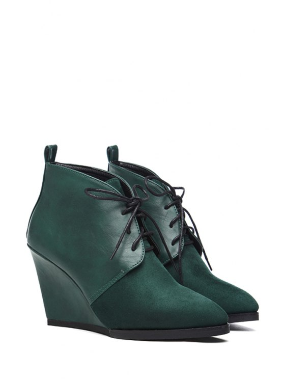 outfit Wedge Heel Lace-Up Splice Short Boots - GREEN 35