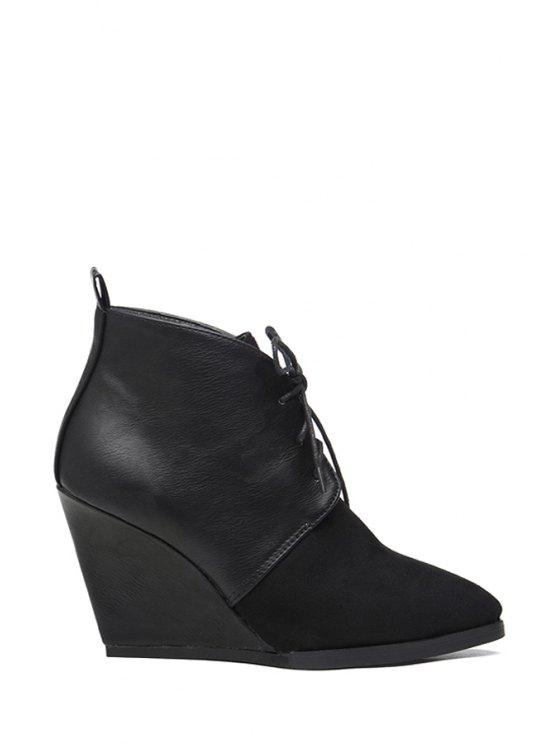 fancy Wedge Heel Lace-Up Splice Short Boots - BLACK 38