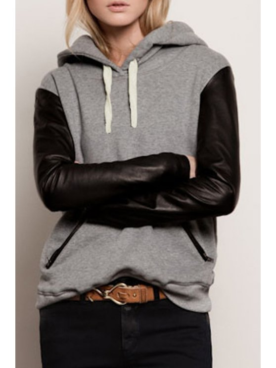outfits Hooded Faux Leather Sleeve Hoodie - BLACK AND GREY S