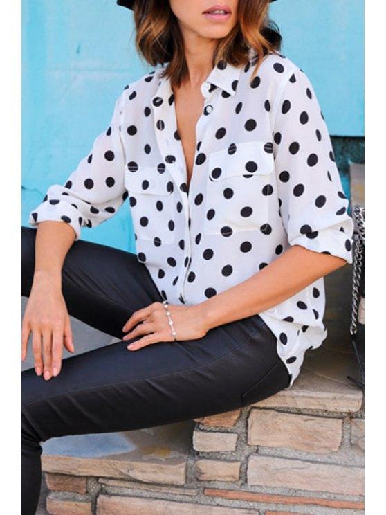 lady Two Pockets Polka Dot Shirt - WHITE L