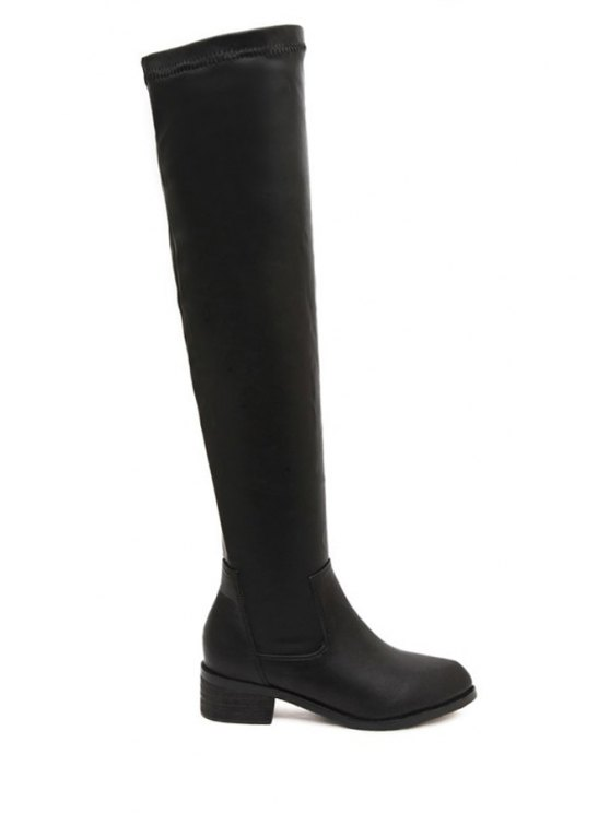 affordable Pointed Toe PU Leather Black Thigh Hig Boots - BLACK 35