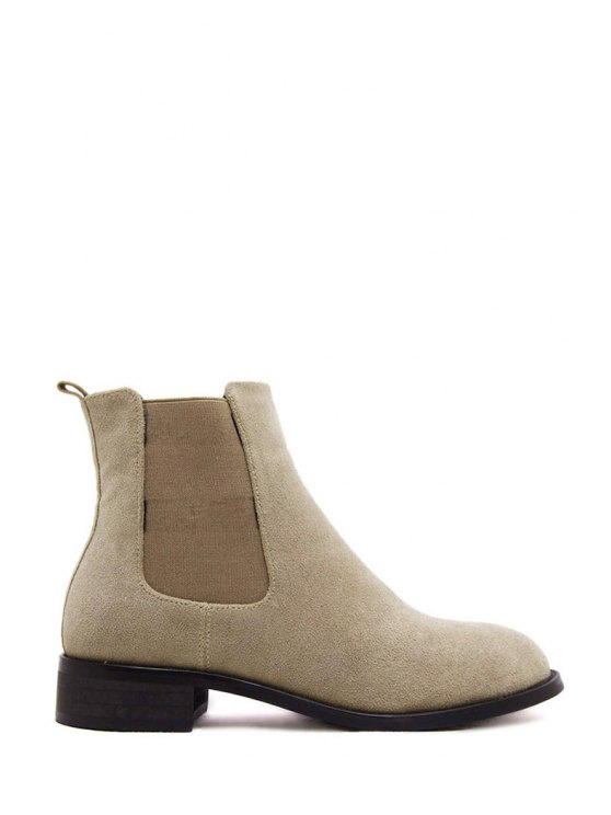 fancy Suede Solid Color Elastic Short Boots - OFF-WHITE 37