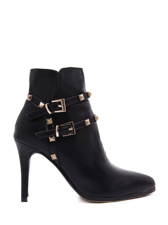 online Rivet Solid Color Pointed Toe Short Boots - BLACK 35