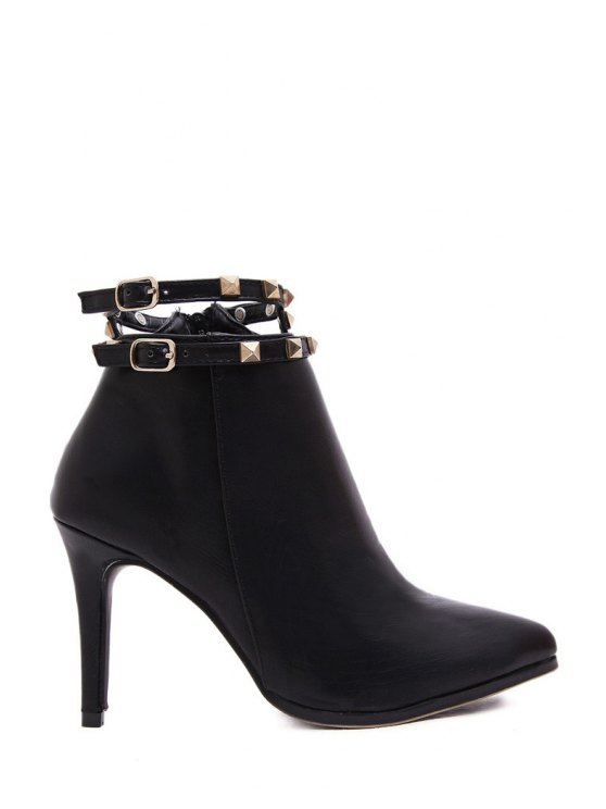 shop Rivet Solid Color Pointed Toe High Heel Boots - BLACK 35