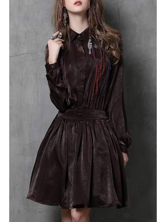 women's Solid Color Turn Down Collar Long Sleeve Dress - COFFEE S