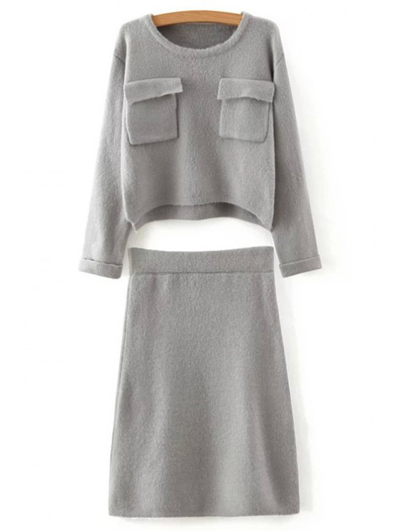 outfits Solid Color Long Sleeves Pocket Sweater and Skirt Twinset - GRAY ONE SIZE(FIT SIZE XS TO M)