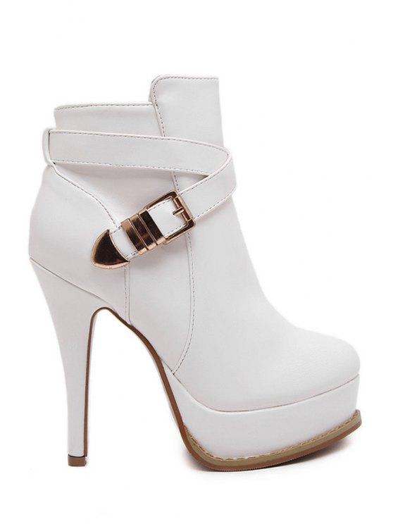 trendy Buckle Platform Criss-Cross High Heel Boots - WHITE 38