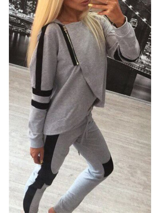womens Hooded Overlap Sweatshirt + Color Block Pants Suit - GRAY S