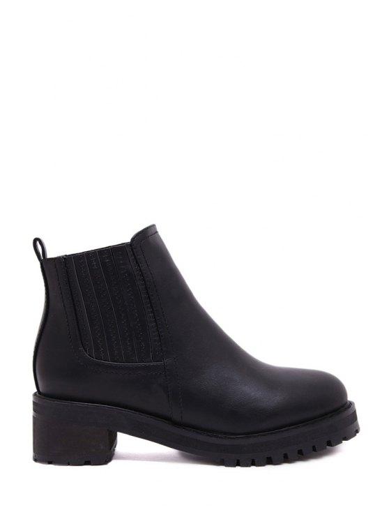 fashion Stitching Chunky Heel Black Short Boots - BLACK 35