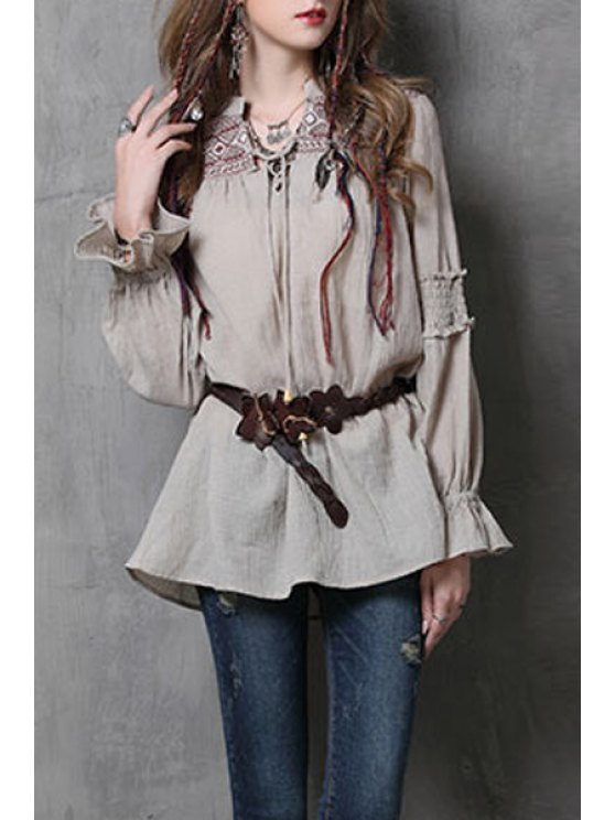 affordable Ruffle Sleeve Embroidered Blouse - KHAKI M