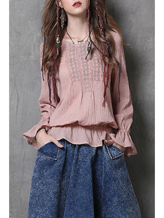 womens Embroidered Flouncing Vintage Blouse - PINK M