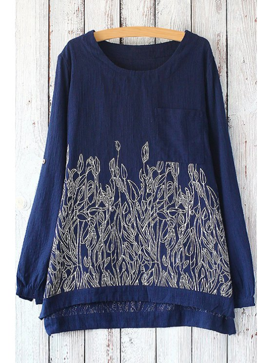 shop Leaf Embroidery Long Sleeve T-Shirt - PURPLISH BLUE ONE SIZE(FIT SIZE XS TO M)