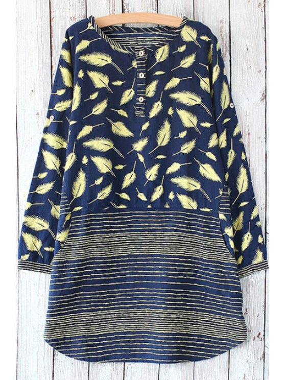 buy Feather Print Scoop Neck Long Sleeve Dress - PURPLISH BLUE ONE SIZE(FIT SIZE XS TO M)