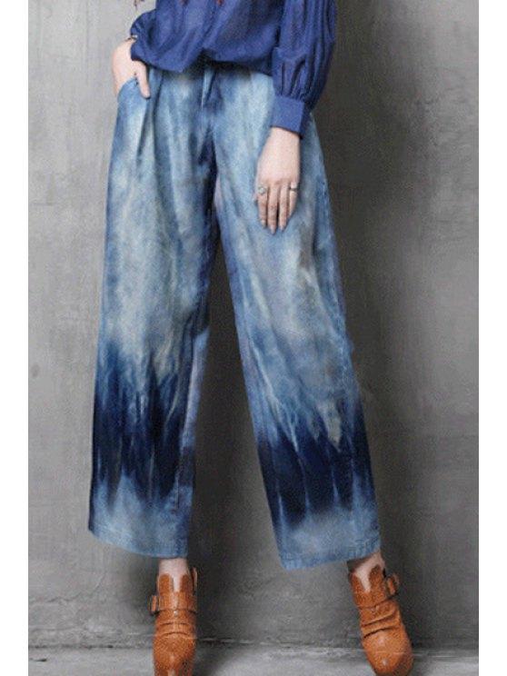 lady Bleach Wash Wide Leg Ninth Jeans - LIGHT BLUE M