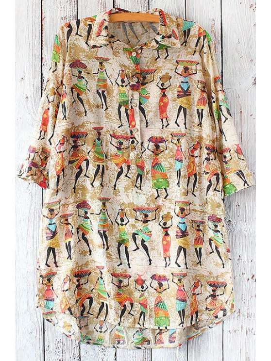 new Figure Print Turn Down Collar 3/4 Sleeves Shirt - BROWN ONE SIZE(FIT SIZE XS TO M)