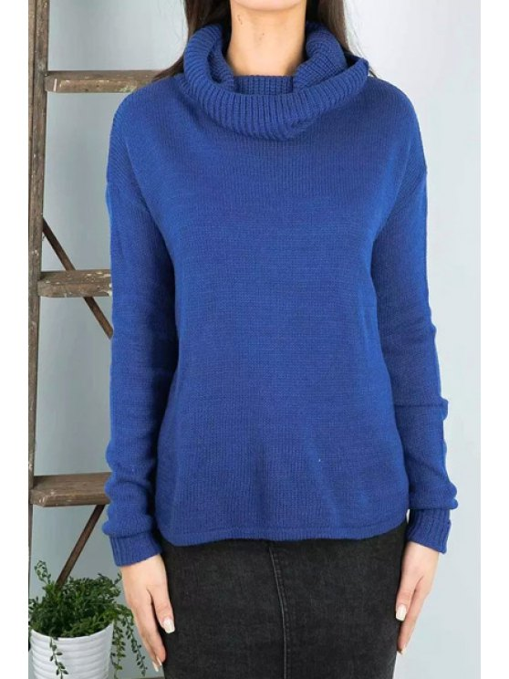 outfit Turtle Neck Long Sleeve Blue Jumper - BLUE ONE SIZE(FIT SIZE XS TO M)
