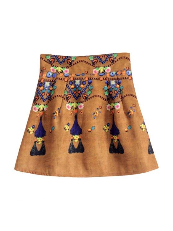 buy Retro Print High Waisted Women's Skirt - KHAKI S