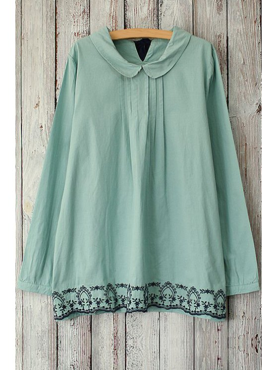 outfit Embroidered Peter Pan Collar Long Sleeve Blouse - BLUE ONE SIZE(FIT SIZE XS TO M)