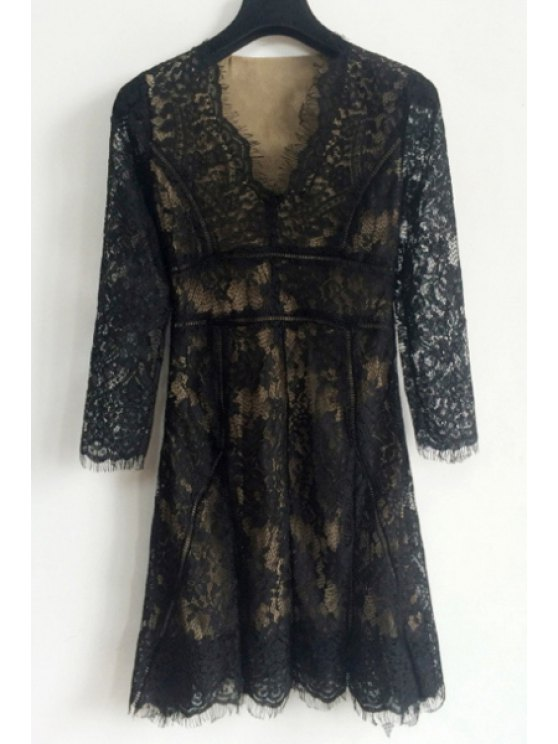fashion Lace Spliced Plunging Neck Long Sleeves Pure Color Dress - BLACK S