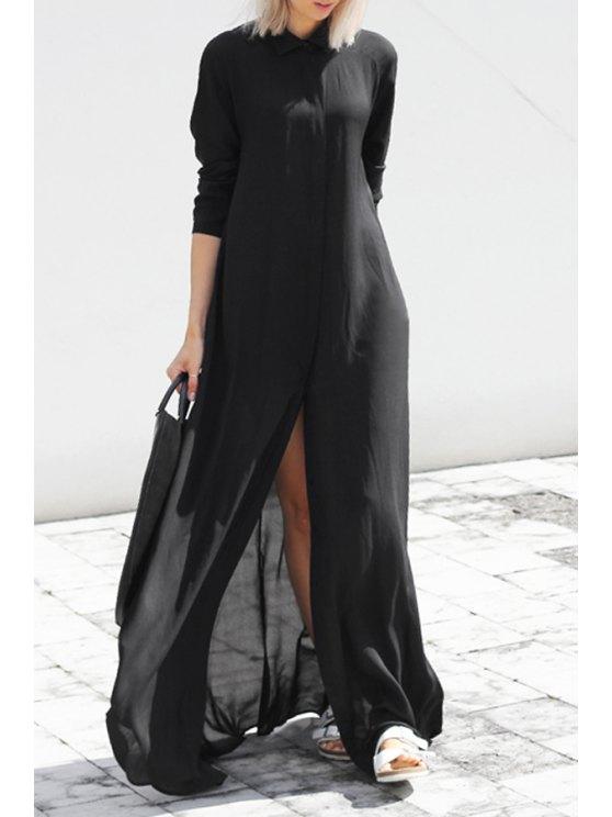shop Black Chiffon Flat Collar Long Sleeves Maxi Dress - BLACK S