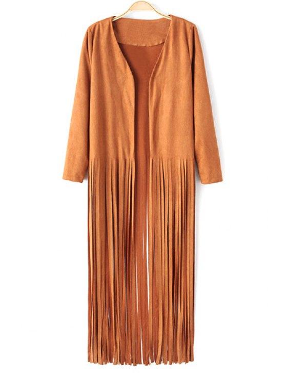 buy Tassel Embellished Suede Trench Coat - KHAKI S