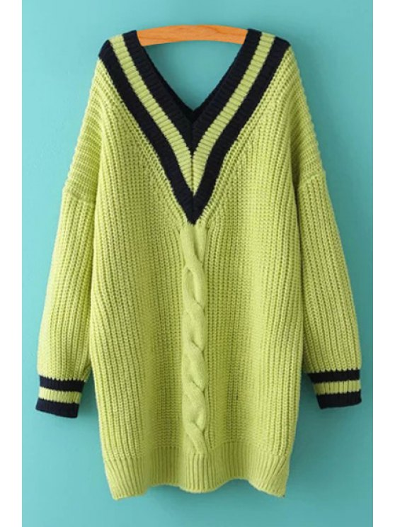 lady V-Neck Cable Knit Stripes Sweater - GREEN ONE SIZE(FIT SIZE XS TO M)