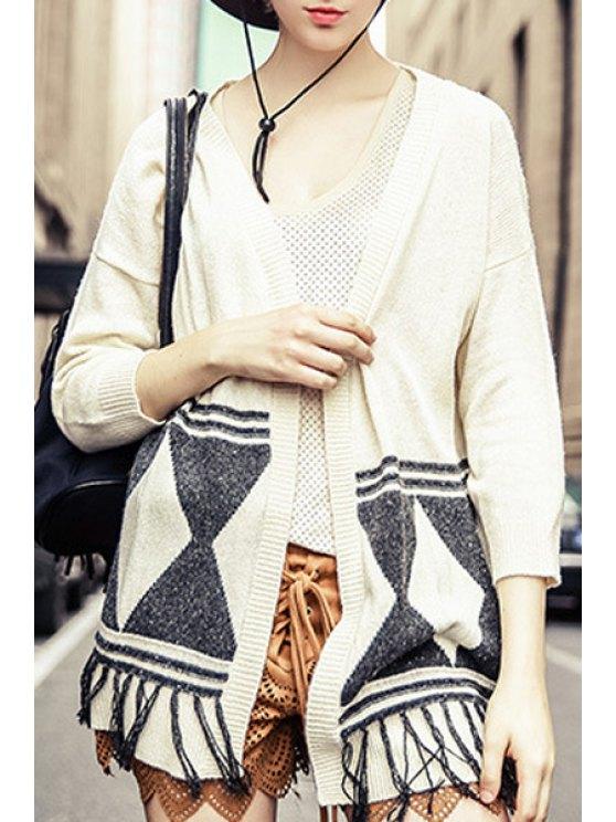 online 3/4 Sleeve Fringed Jacquard Cardigan - OFF-WHITE S