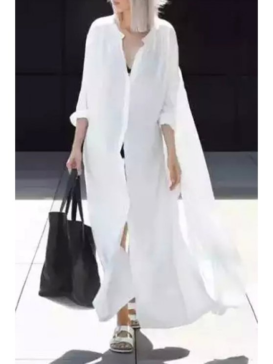 shop White Stand Collar Long Sleeves Shirt Dress - WHITE S