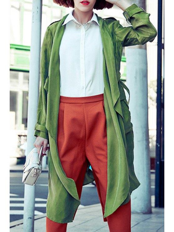 women's Green Turn Down Collar Long Sleeve Trench Coat - GREEN S