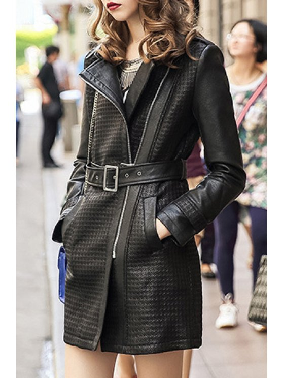 outfit PU Leather Belted Coat - BLACK S