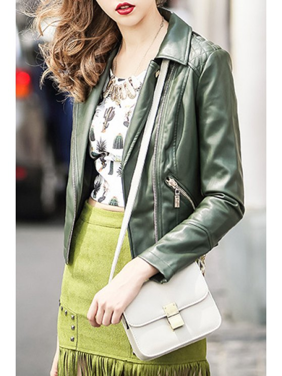 sale Lapel Army Green PU Leather Jacket - ARMY GREEN S