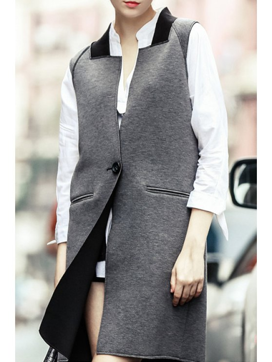 outfits Square Neck One Button Waistcoat - GRAY S
