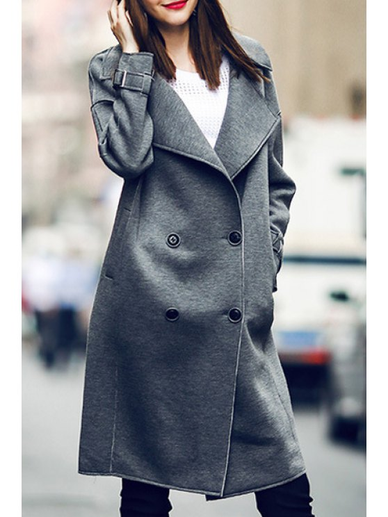 latest Lapel Double-Breasted Gray Coat - GRAY S