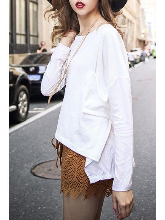 new Irregular Hem Back Slit T-Shirt - WHITE L