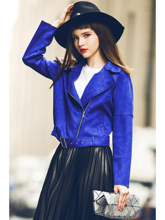 women Sapphire Blue Turn Down Collar Jacket - SAPPHIRE BLUE M