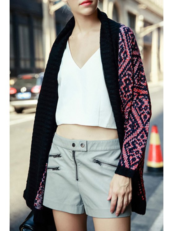 new Shawl Neck Batwing Sleeve Jacquard Cardigan - RED WITH BLACK S