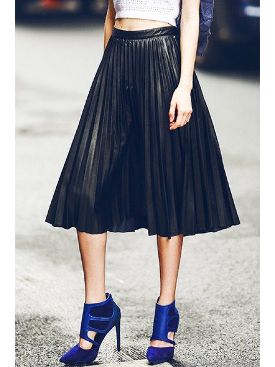 trendy Black PU Leather Pleated Skirt - BLACK S