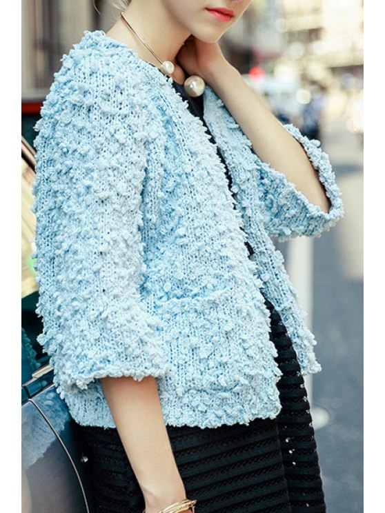 shops 3/4 Sleeve Covered Button Knitted Jacket - LIGHT BLUE S