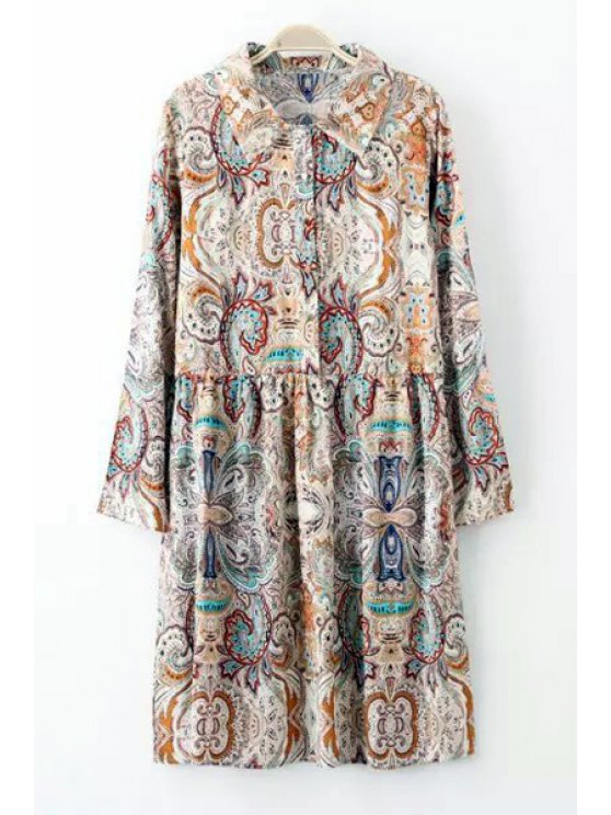 fancy Floral Print Button Flat Collar Long Sleeves Dress - COLORMIX S