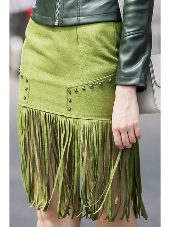 outfit High-Waisted Tassel Green Suede Skirt - GREEN S
