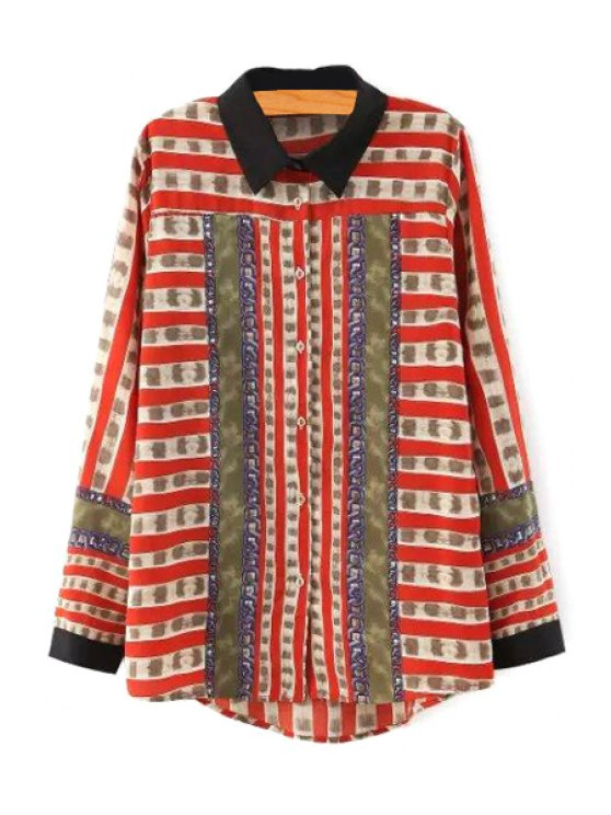 womens Printed Flat Collar Long Sleeves Blouse - RED S