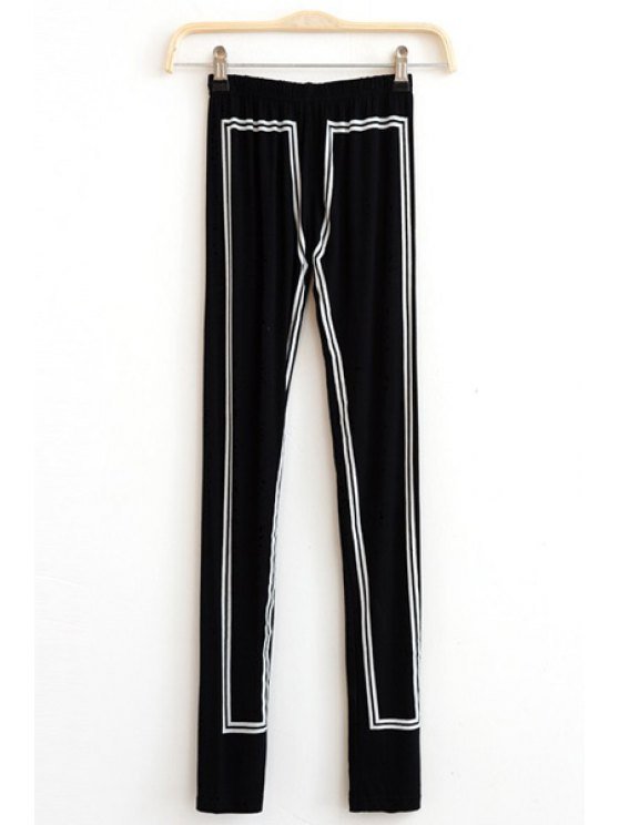 latest Elastic Waist Hit Color Skinny Leggings - BLACK ONE SIZE(FIT SIZE XS TO M)