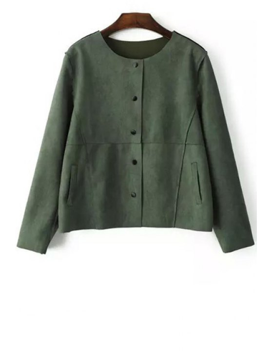 chic Single-Breasted Suede Jacket - GREEN S