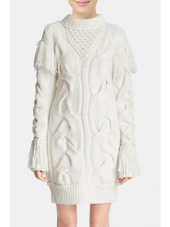 women White Fringes Stand Collar Long Sleeves Long Pullover Sweater - WHITE S