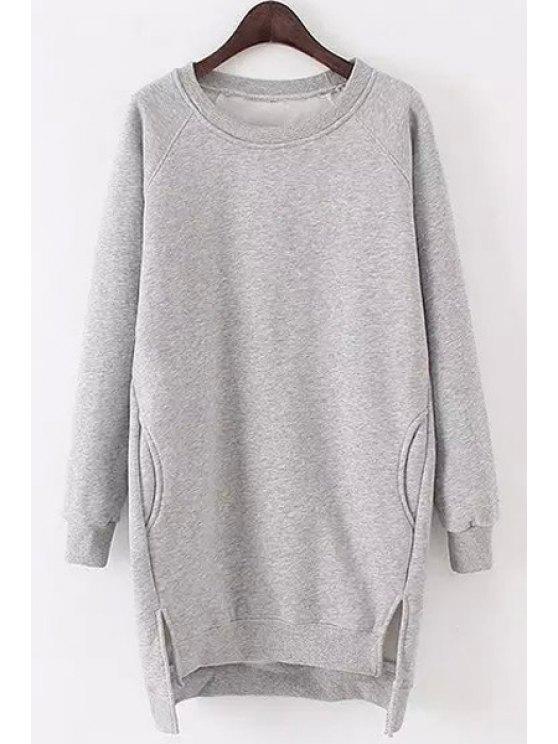 women Side Slit Pocket Design Long Sweatshirt - GRAY ONE SIZE(FIT SIZE XS TO M)
