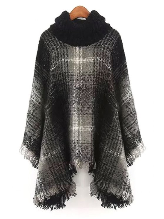 new Checked Long Sleeves Turtle Neck Pullover Sweater - GRAY ONE SIZE(FIT SIZE XS TO M)