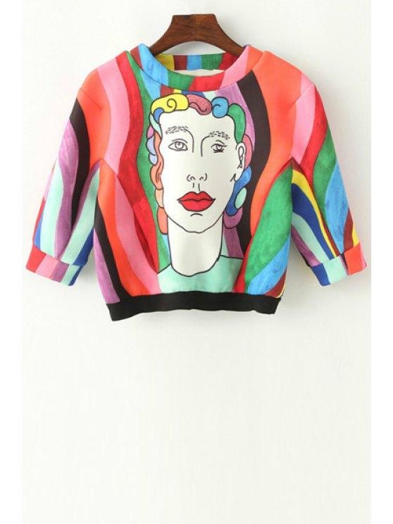 lady Figure Pattern Colorful Crop Sweatshirt - COLORMIX S
